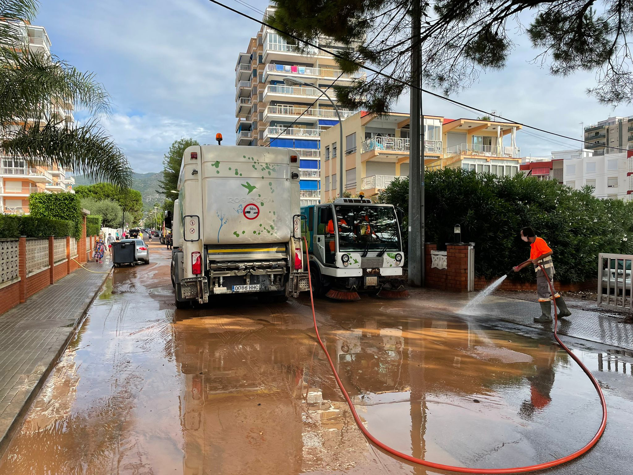 Trabajo limpieza tras lluvias agosto Benicàssim - Fobesa